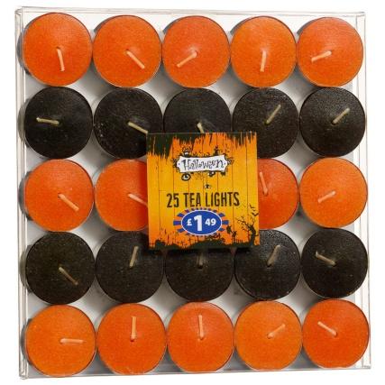 Halloween tea light candles 25pk pumpkin decorations b m for B m halloween decorations