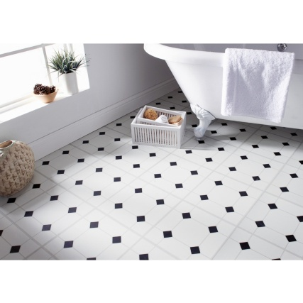 Self Adhesive Floor Tiles Black Amp White Diamond Effect