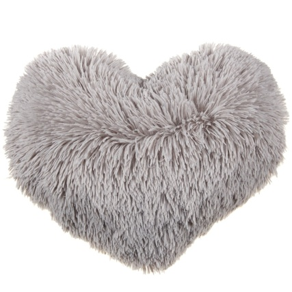 Sophia Shaggy Heart Cushion - Grey