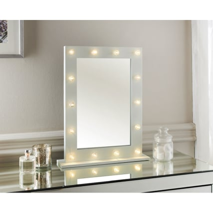 modern hollywood 14 led bulb vanity mirror dressing table mirror white frame new ebay. Black Bedroom Furniture Sets. Home Design Ideas
