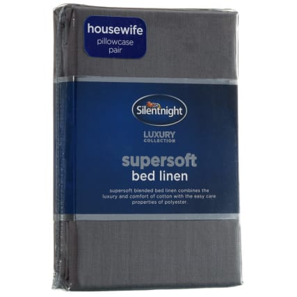 317198-Silentnight-Supersoft-Bed-Linen-Housewife-Pillowcase-charcoal1