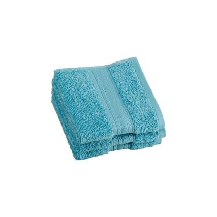 Signature Zero Twist Face Cloth 3pk Aqua Bathroom