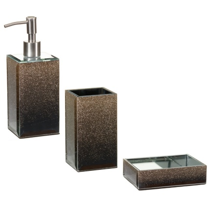Glitter bathroom accessories george home silver glitter for White glitter bathroom accessories