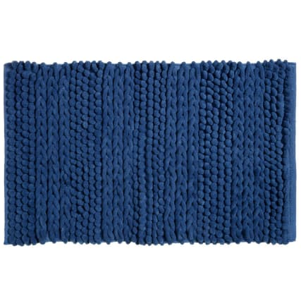 318015-Knitted-Texture-Microfibre-Chenille-Bathmat-blue1