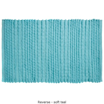 318015-Knitted-Texture-Microfibre-Chenille-Bathmat-soft-teal1