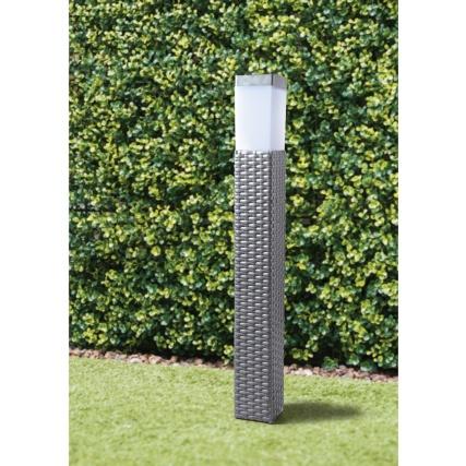 Sorrento Tall Solar Rattan Post Light Grey Solar