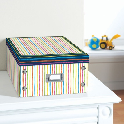 Kids Paper Storage Box Large Stripes Stationery B Amp M