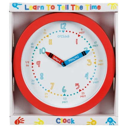 Learn To Tell The Time Clock Red Home Decor B Amp M Stores