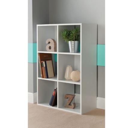 6 cube shelving unit white