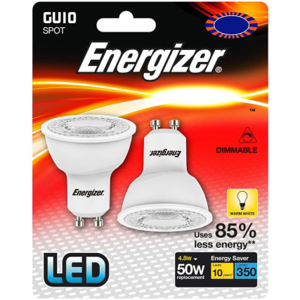 Energizer LED 50W GU10 Dimmable Bulb 2pk