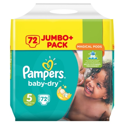 pampers baby dry nappies 72 jumbo pack size 5 deal at bmstores. Black Bedroom Furniture Sets. Home Design Ideas