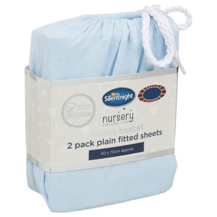 324401-Silent-NIght-Moses-Basket-100-Percent-Cotton--Fitted-Sheets-2PK--Blue