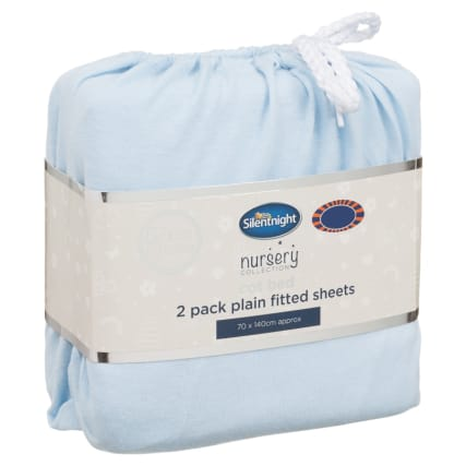 324402-Silent-NIght-Cot-Bed-100-Percent-Cotton-Plain-Fitted-Sheets-2PK-Blue
