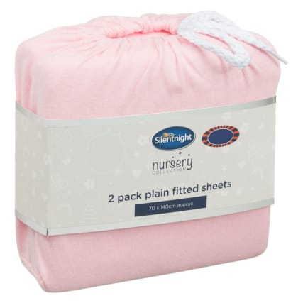 324402-Silent-NIght-Cot-Bed-100-Percent-Cotton-Plain-Fitted-Sheets-2PK-Pink