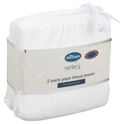 324402-Silent-NIght-Cot-Bed-100-Percent-Cotton-Plain-Fitted-Sheets-2PK-White