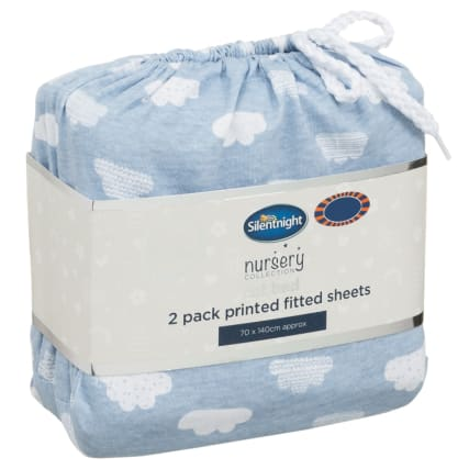 324404-Silent-NIght-Cot-Bed-100-Percent-Cotton-Printed-Fitted-Sheets-2PK-Clouds