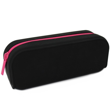 324998-Pencil-Case-Black-Silicone-With-pink-Zip