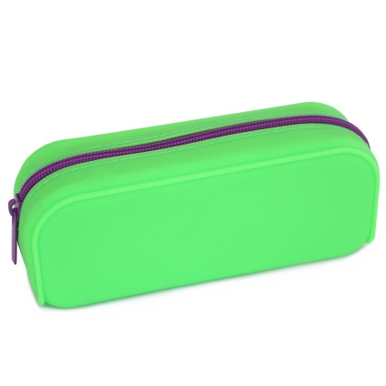 324998-Pencil-Case-Green-Silicone-With-Purple-Zip