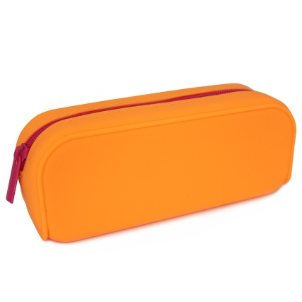 324998-Pencil-Case-Orange-Silicone-With-Pink-Zip