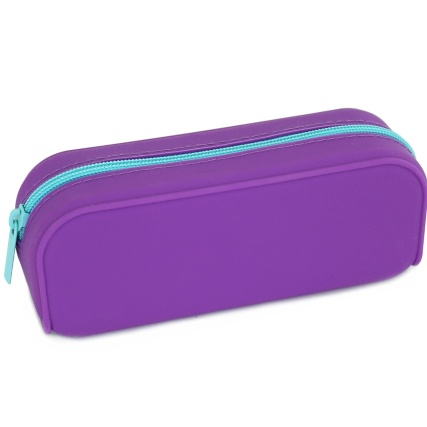 324998-Pencil-Case-Purple-Silicone-With-Blue-Zip