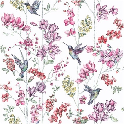 Holden Décor Glitter Hummingbird Wallpaper - White/Multicolour