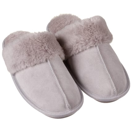 Ladies Love Sheep Lined Slippers - Grey