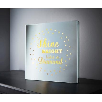 Square Mirror Led Slogan Shine Bright Like A Diamond B Amp M