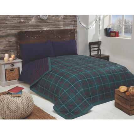 327421-Green-and-Navy-Check-Bedspread