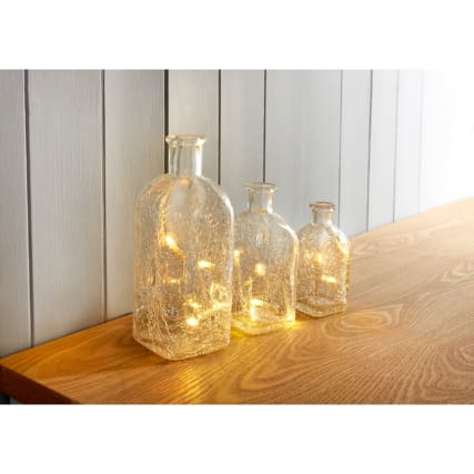 Crackle Glass Bottle Lights 3pk - Clear Glass
