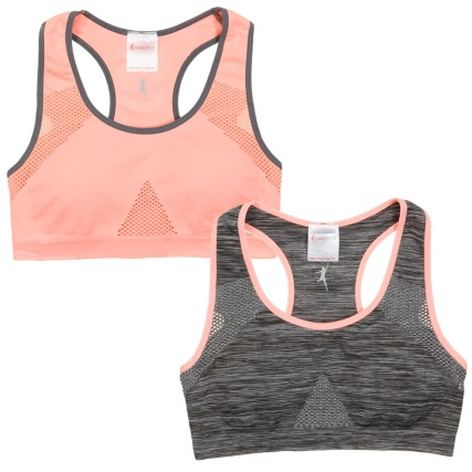 Tonetime Ladies Sports Bras 2pk - Grey