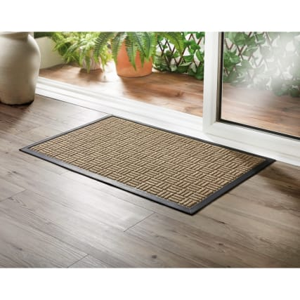 Addis Sculptured Doormat 55 X 85cm Natural Grid Home B Amp M