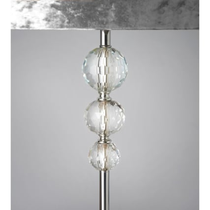 Luxe Crystal Floor Lamp With Velvet Look Shade Silver