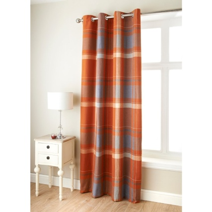 Tara Woven Check Fully Lined Panel - Rust