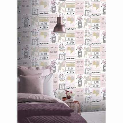 Glam Life Wallpaper Pink Diy B Amp M