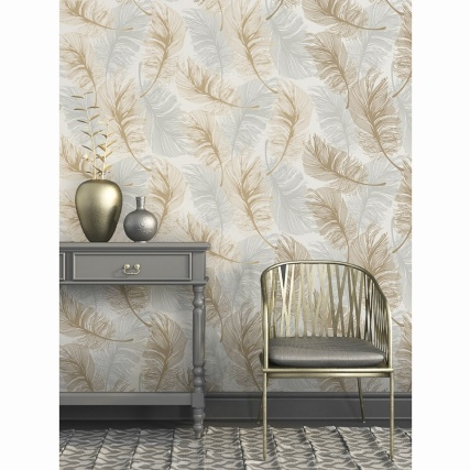 335104-fine-decor-plume-foil-gold-silver-wallpaper