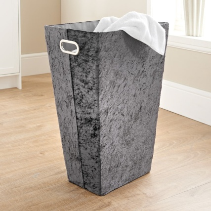335841-crushed-velvet-laundry-hamper-grey
