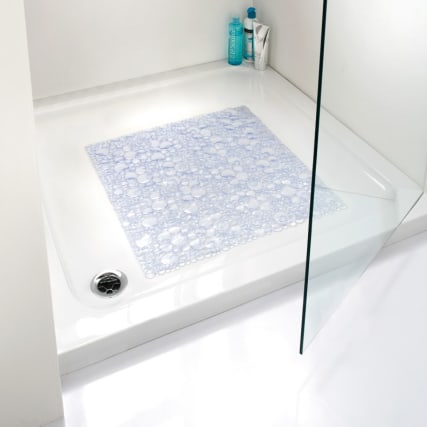 Square Bubble Shower Mat Clear Bathroom B Amp M