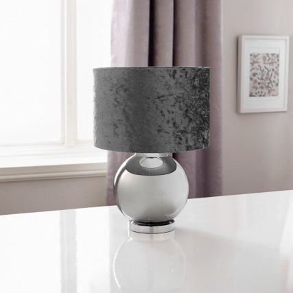 339085-reflective-glass-ball-table-lamp-with-velvet-look-shade-dark-grey