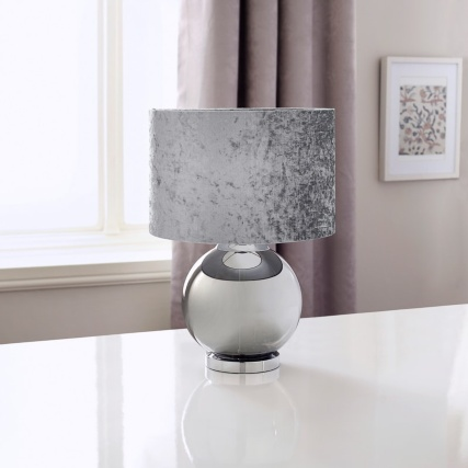 339085-reflective-glass-ball-table-lamp-with-velvet-look-shade-light-grey