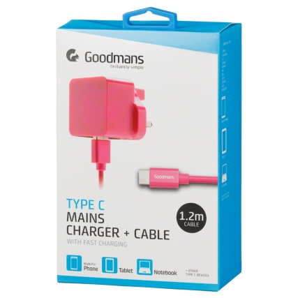 340622-goodmans-type-c-mains-charger-and-cable-pink