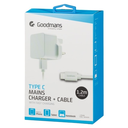 340622-goodmans-type-c-mains-charger-and-cable-white