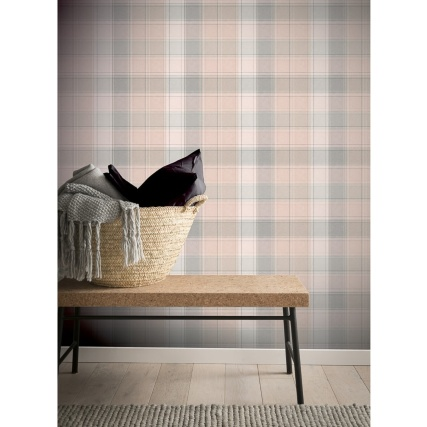 341213-arthouse-country-check-pink--grey-wallpaper