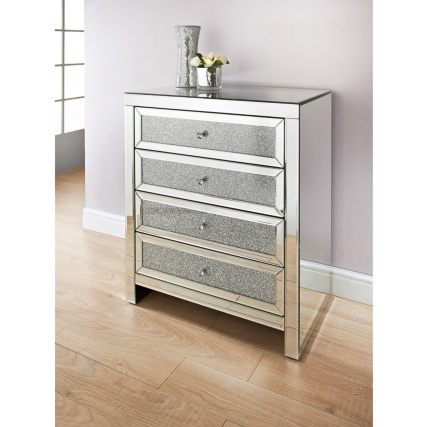 Ariana Mirrored 4 Drawer Chest