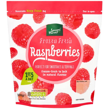 Seasons Harvest Frozen Raspberries 300g