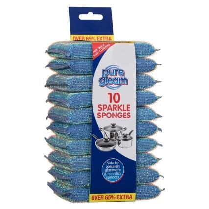 343354-pure-gleam-10pk-sparkle-sponge-scourer-blue