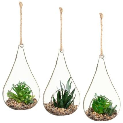 Hanging Succulents In Glass Terrarium Home Artificial Plants B M