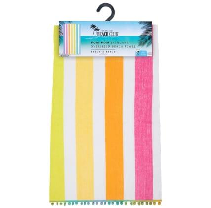 344470-oversized-pom-pom-beach-towel-rainbow-stripe