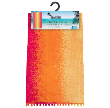 344470-oversized-pom-pom-beach-towel-sunset-ombre