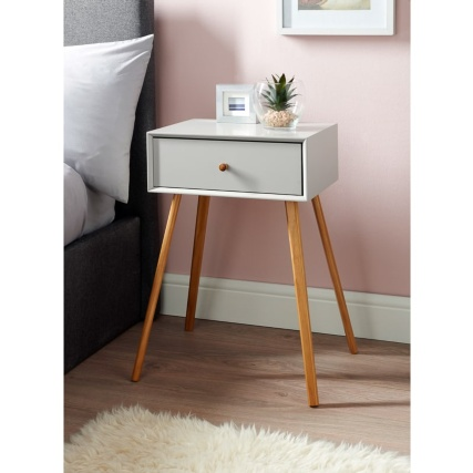 Bjorn Bedside Table - Stone | Bedroom Furniture - B&M