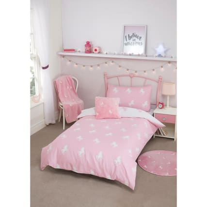 Glow In The Dark Unicorn Single Duvet Set Pink Bedding B M